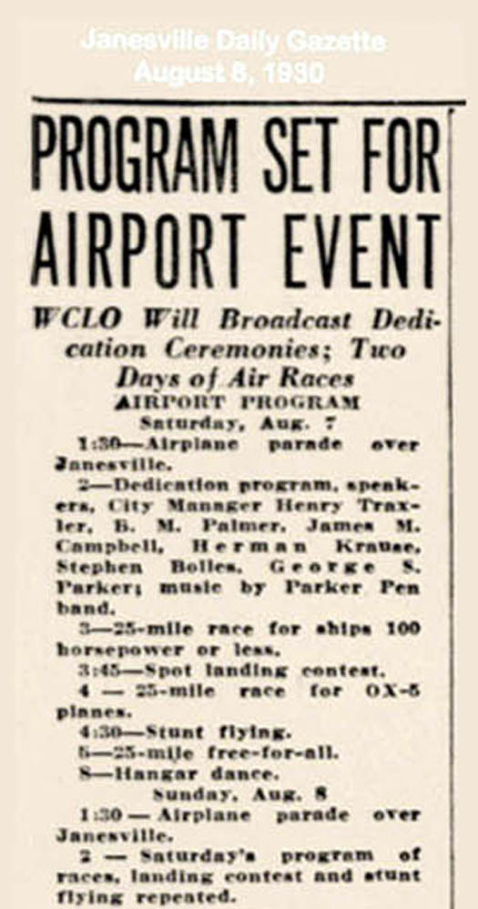1930 08 07 08 Inauguration Janesville City airport Krause with Geo. S. Parker as speaker and the Parker Pen Band.
