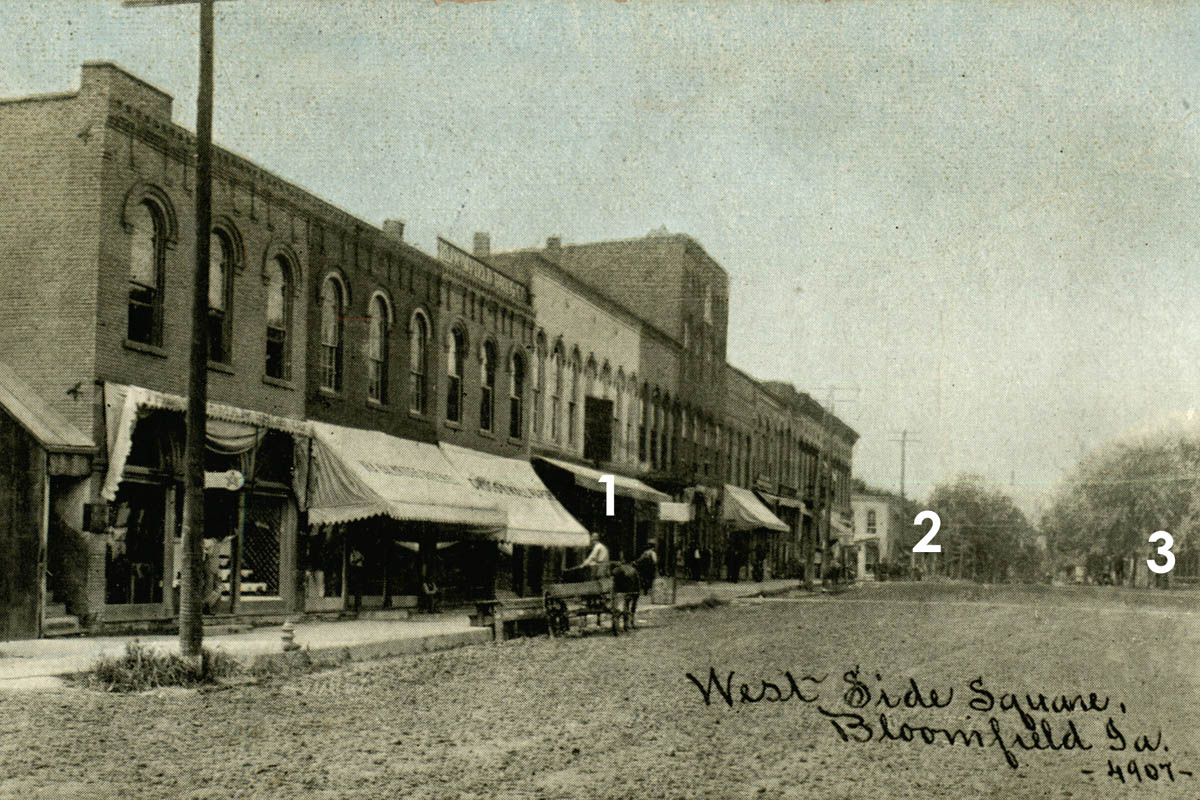 1912 c. Bloomfield Square West and Northwest sides with Sheaffer´s jewelry locations.