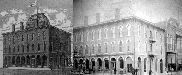 Hesse Building. En las plantas superiores se instaló la primera factoría.  B.B. Hesse Building(*) in 2nd St. with Pine St. (today Avenue G with 7th St.)