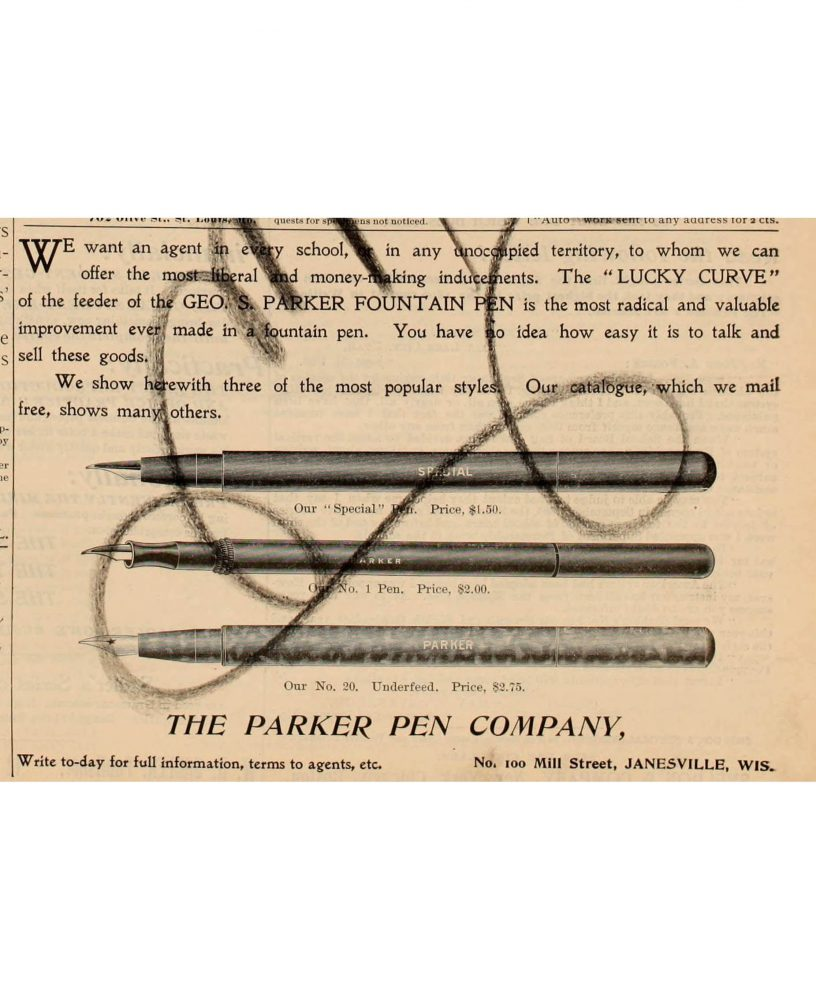 1896 12 00 Penman´s Art Journal. First ad citing Lucky Curve - copia