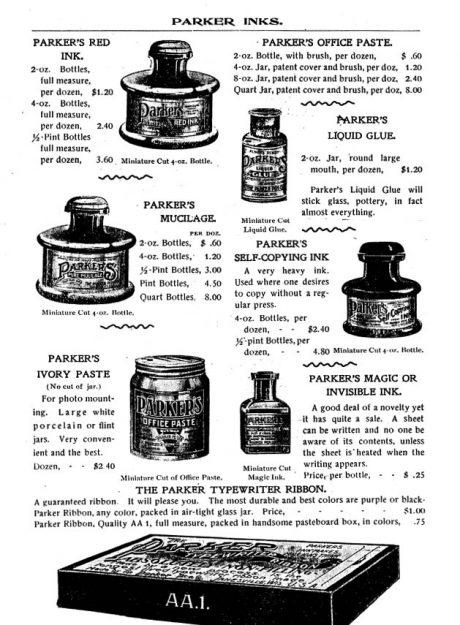 1898 Parker pen inks