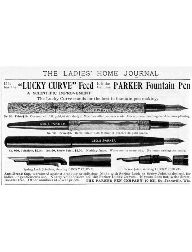 Parker no. 12 ad from Ladies´ Home Journal. September, 1901.