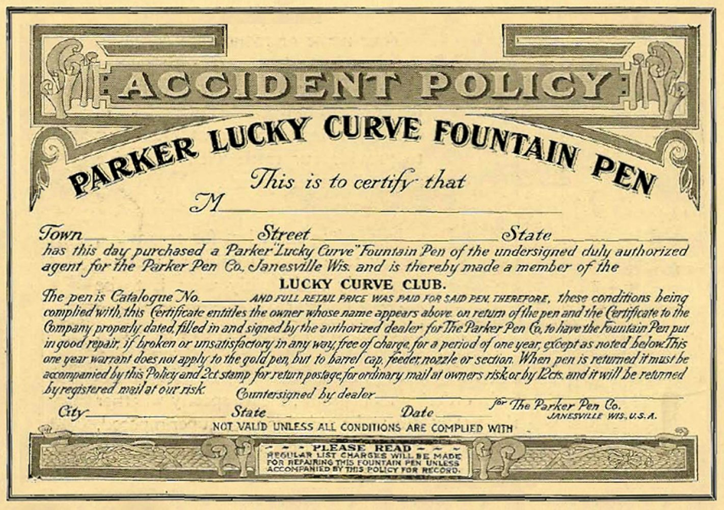 1902 LUCKY CURVE CLUB ACCIDENT POLICY