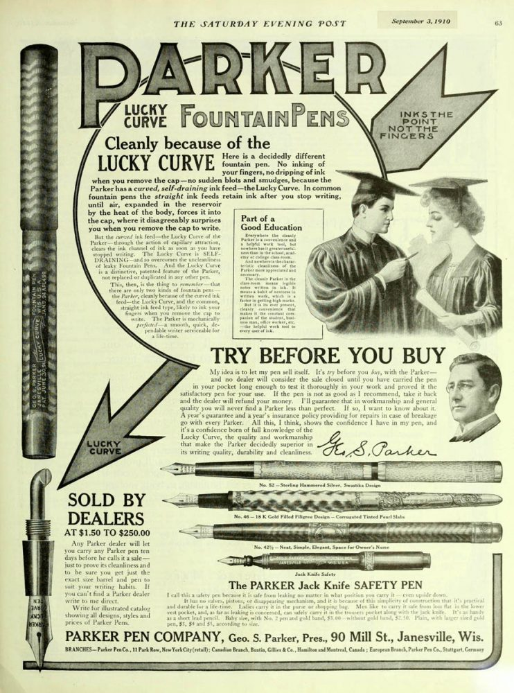 A Parker #46 ad. Saturday Evening Post. September 3, 1910.