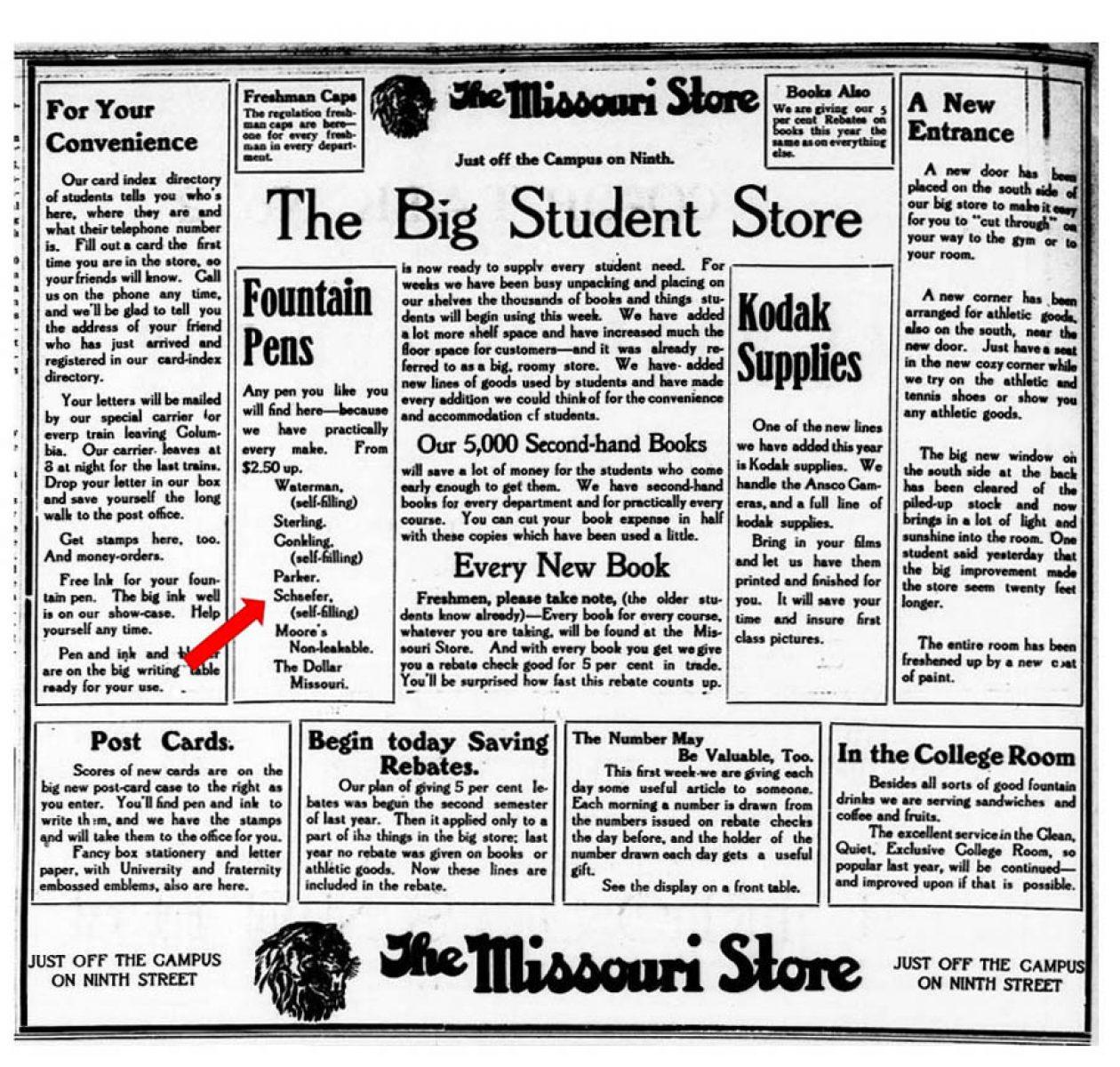 1912 09 17 University Missourian anuncio completo