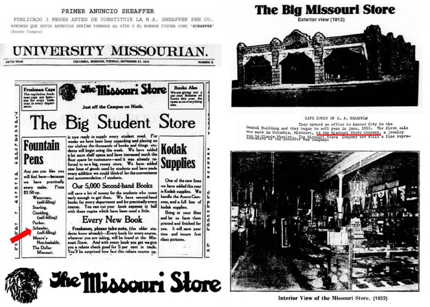 1912 09 17 first ad Schaefer University Missourian