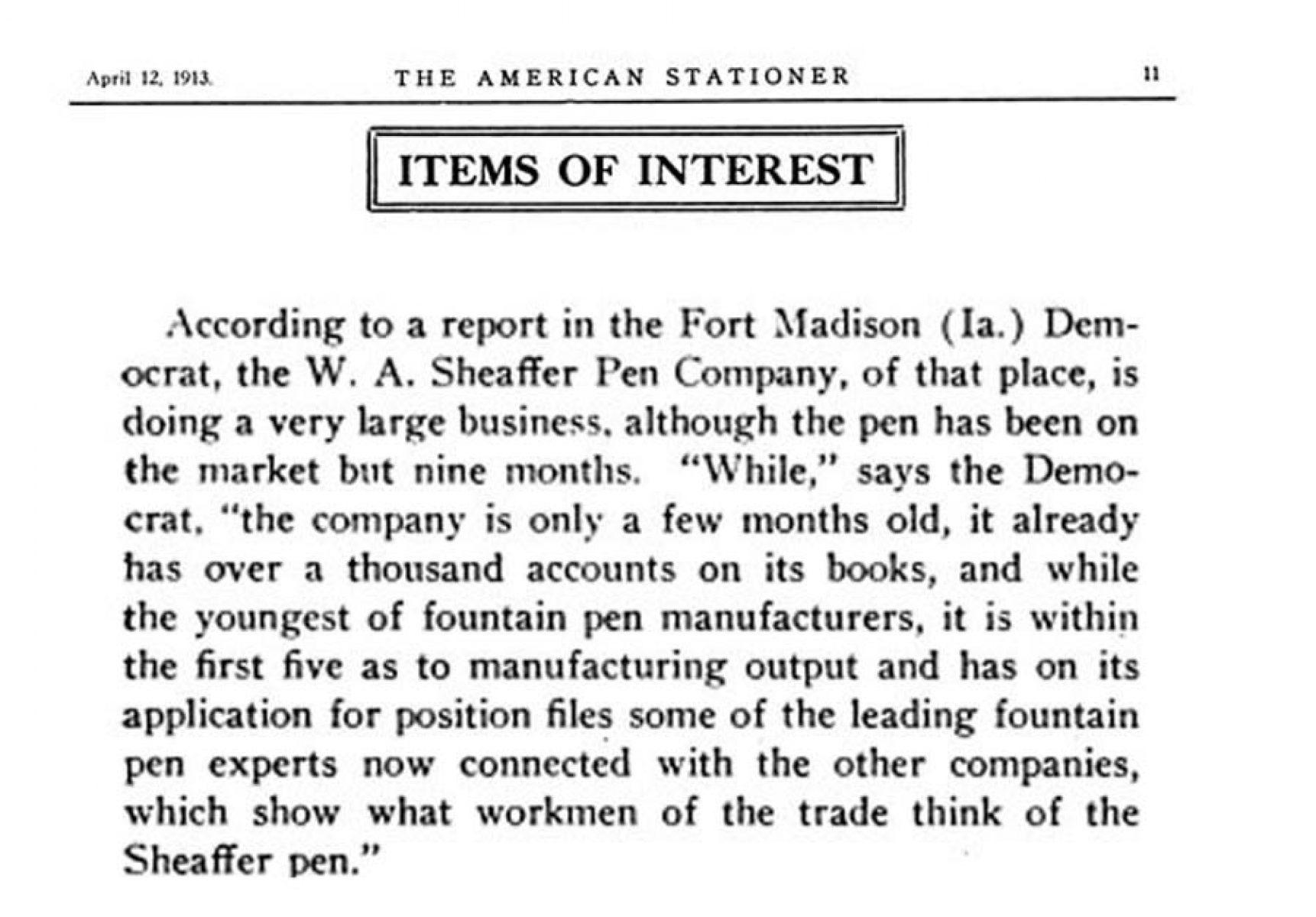 1913 04 12 ventas Sheaffer Lazard
