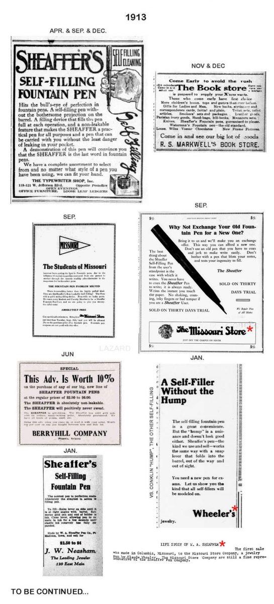 1913 Sheaffer ads Lazard