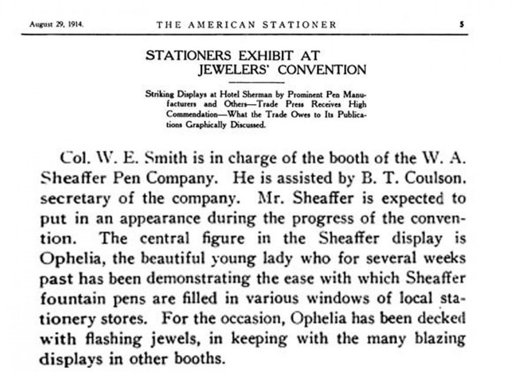 1914 08 29 Sheaffer Ophelia Lazard