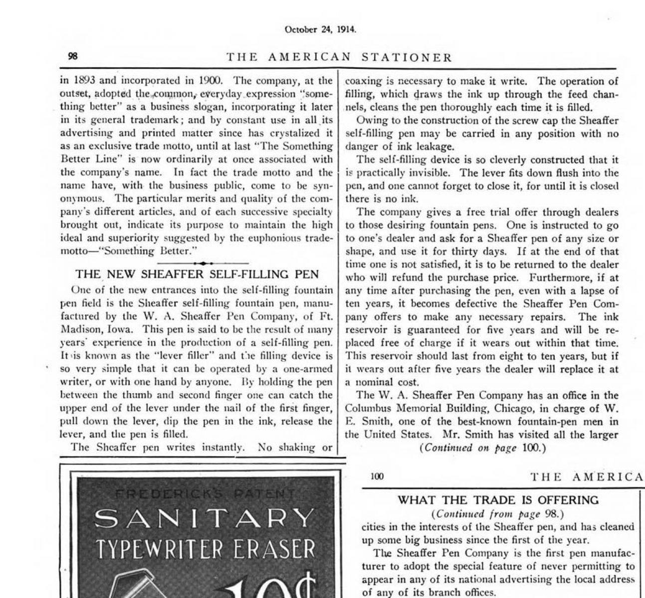 1914 10 24 Sheaffer garantiza el saquito por 5 años