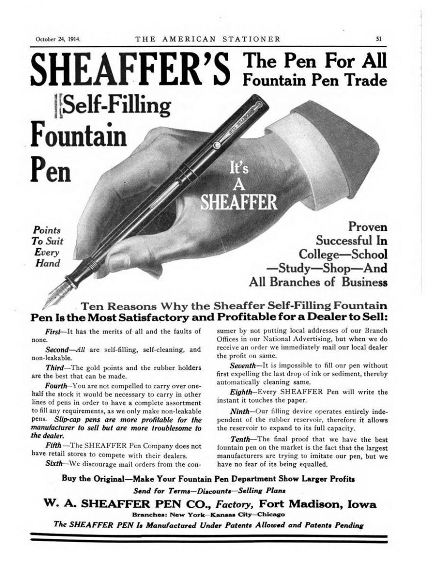 1914 10 24 sheaffer doble barra
