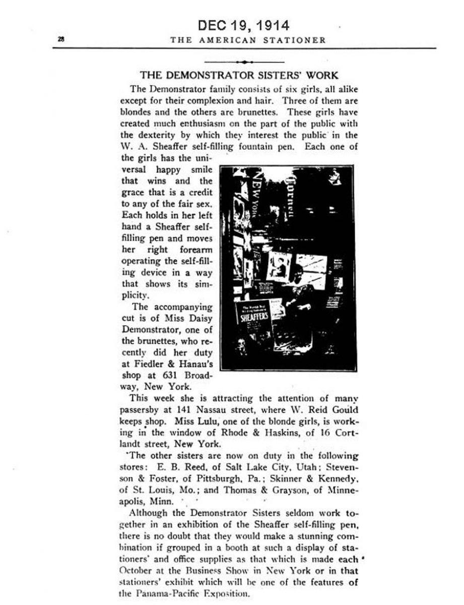 1914 12 19 Sheaffer display Lazard