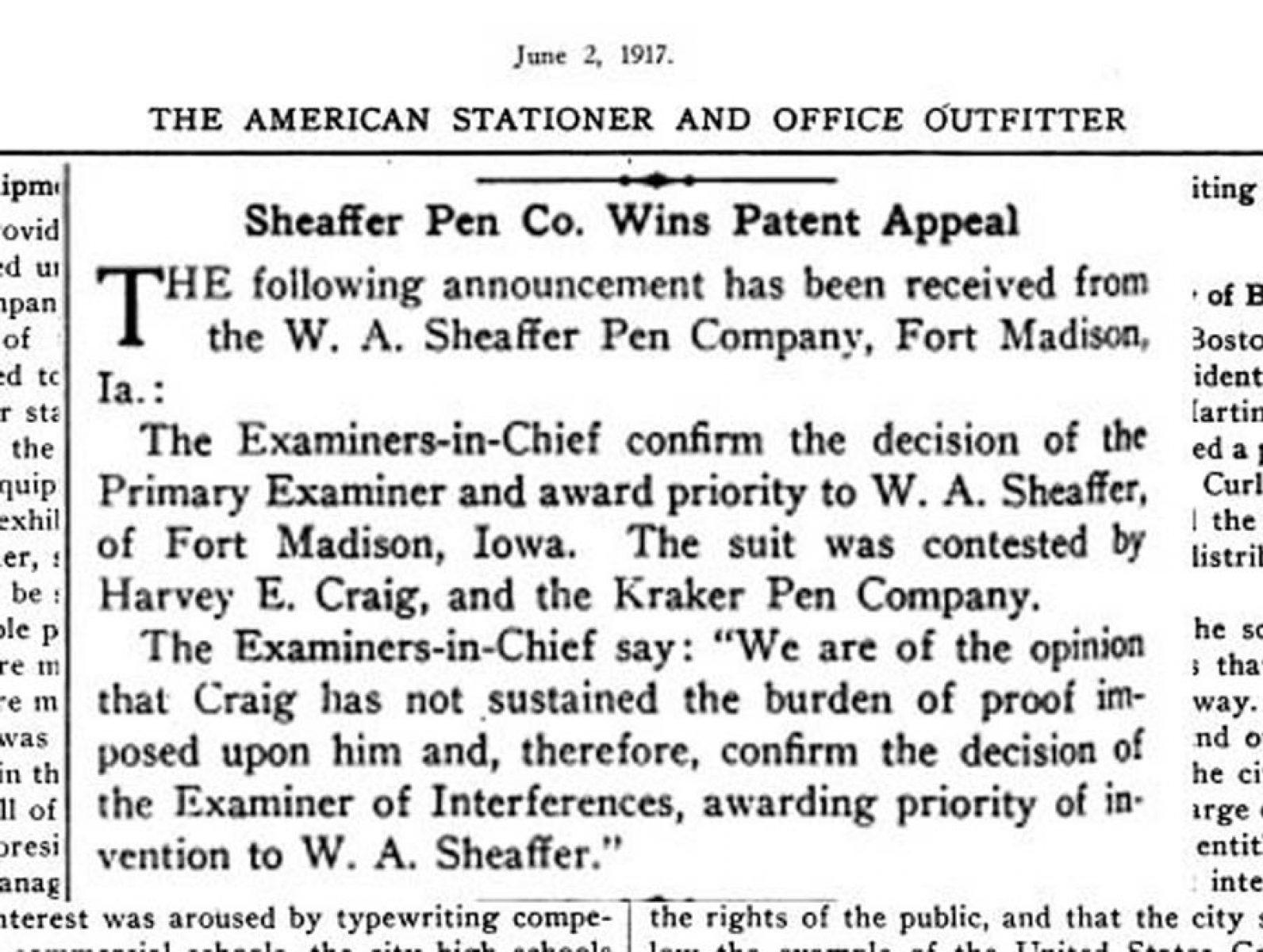 1917 06 02 Sheaffer wins patent appeal