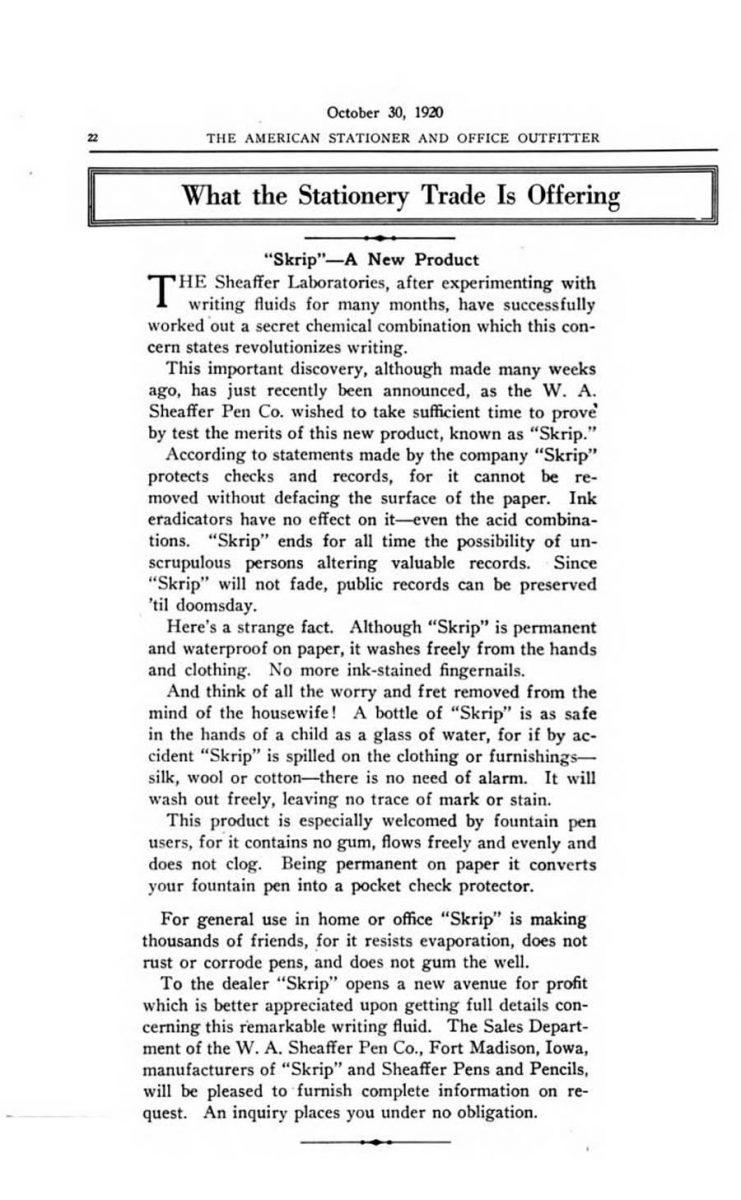 1920 10 30 Sheaffer Skrip