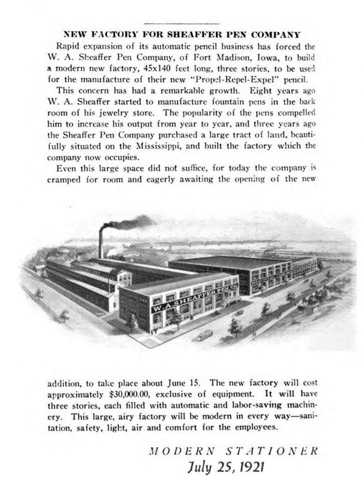 1921 07 25 Sheaffer´s New factory
