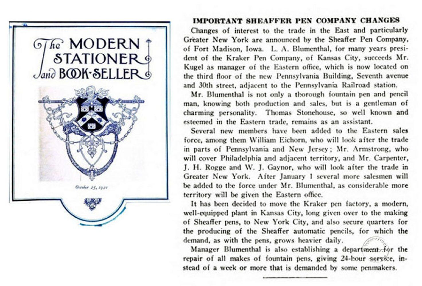1921 10 25 Sheaffer emplea a Blumenthal (enemigo) conforme su Biografia