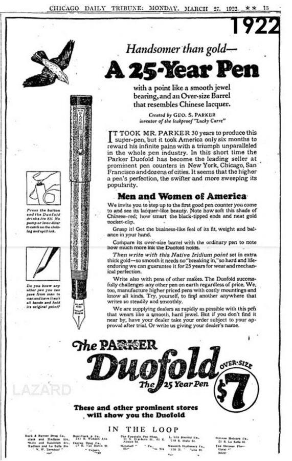 1922 03 27 Chicago Tribune Duofold Lazard