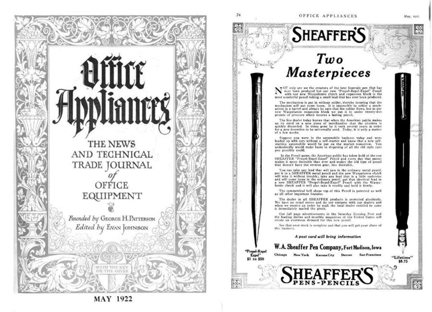 1922 05 01 Clip SHEAFFER´S Office Appliances