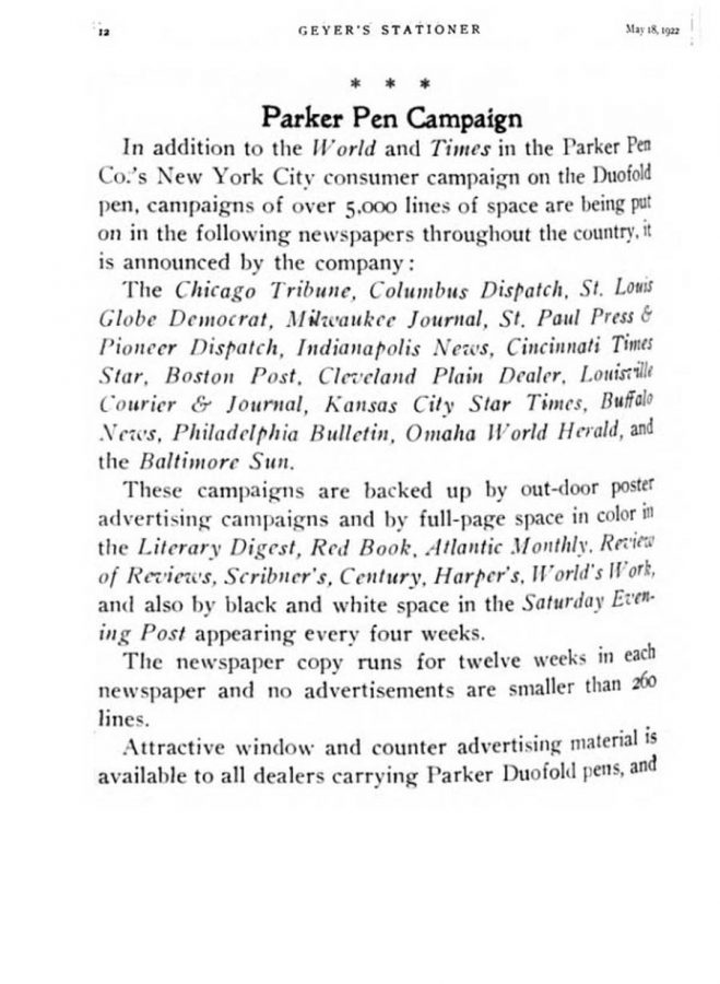 1922 05 18 Parker Duofold Campaign press & magazines