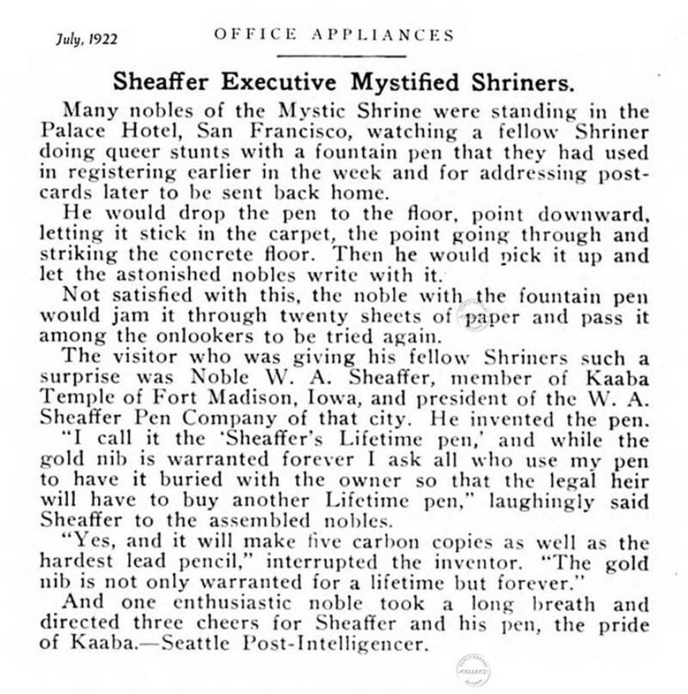 1922 07 00 Noble Sheaffer & Shriners 2
