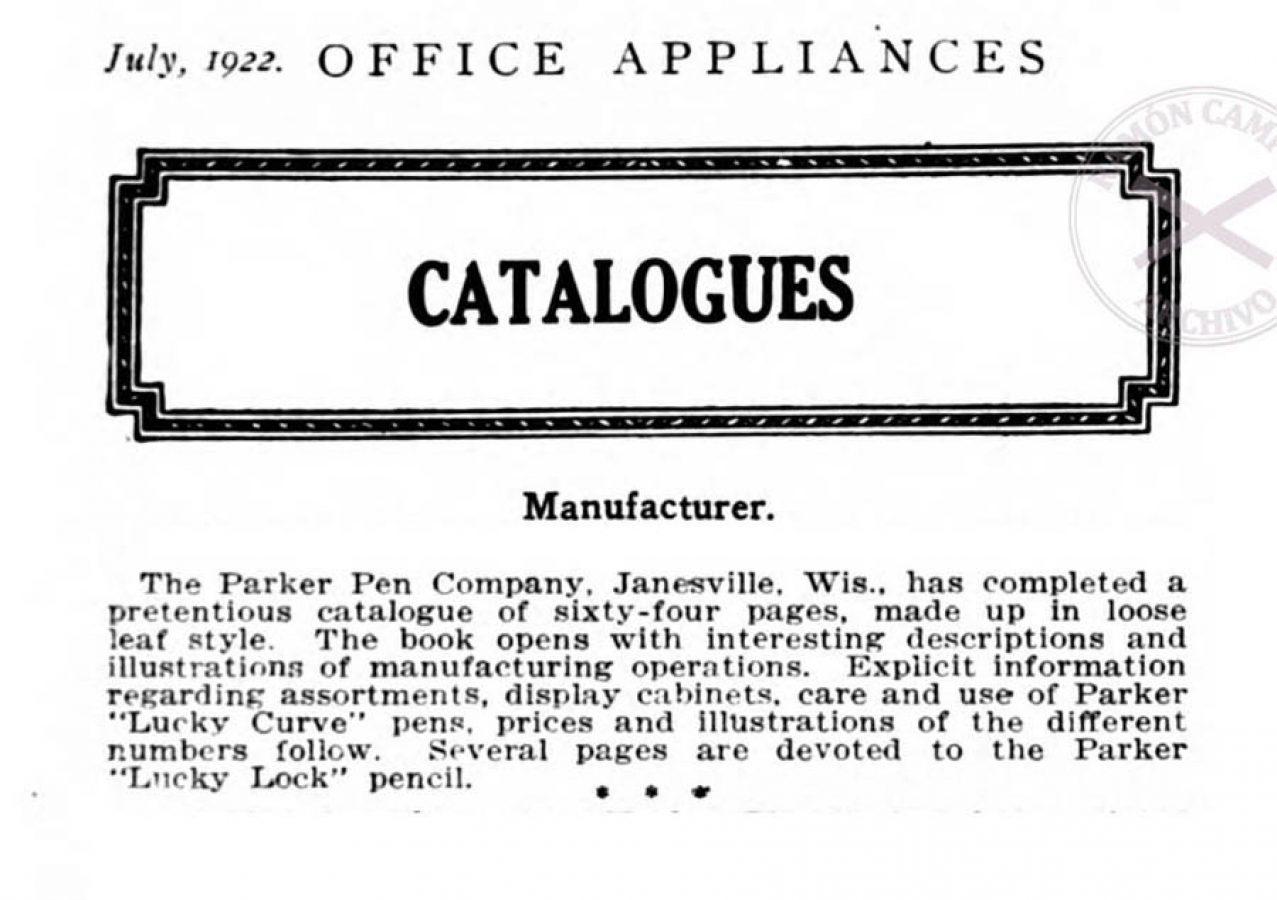 1922 07 00 Parker new catalog Office Appliances