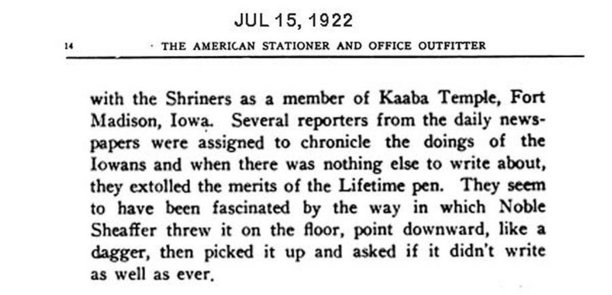 1922 07 15 caseín Noble SheafferS Lazard
