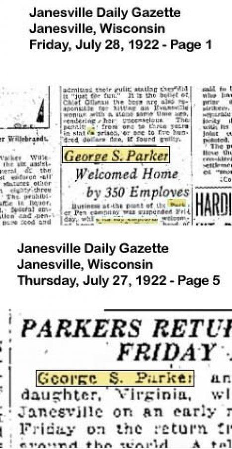 1922 07 28 Regreso George Parker Janesville Daily Gazete