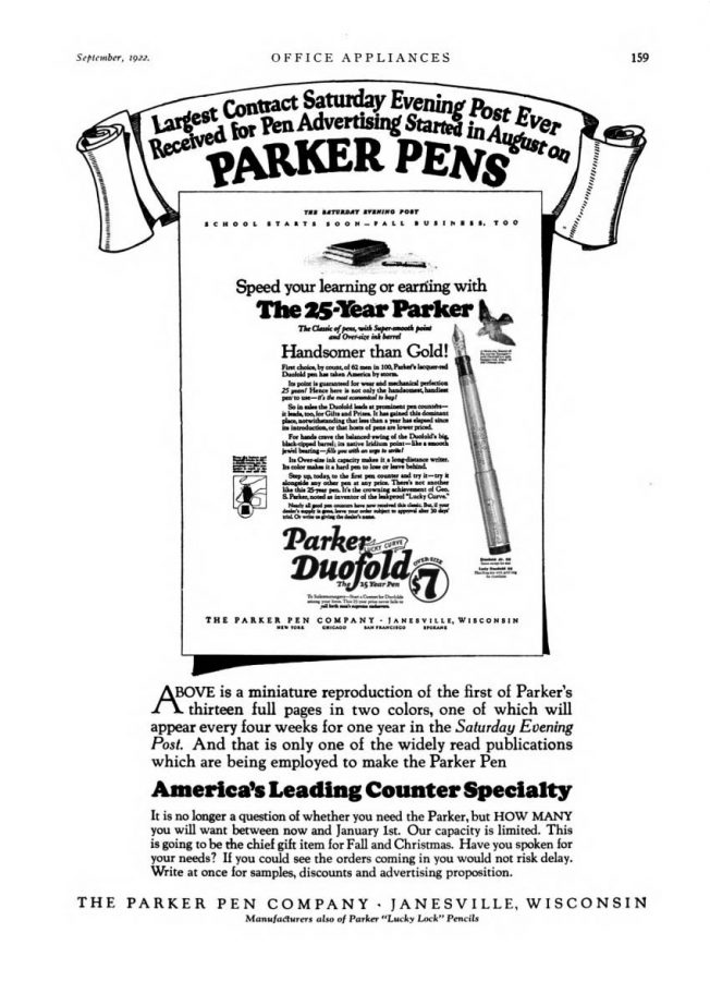 1922 09 01 parker ad info SEP campaing
