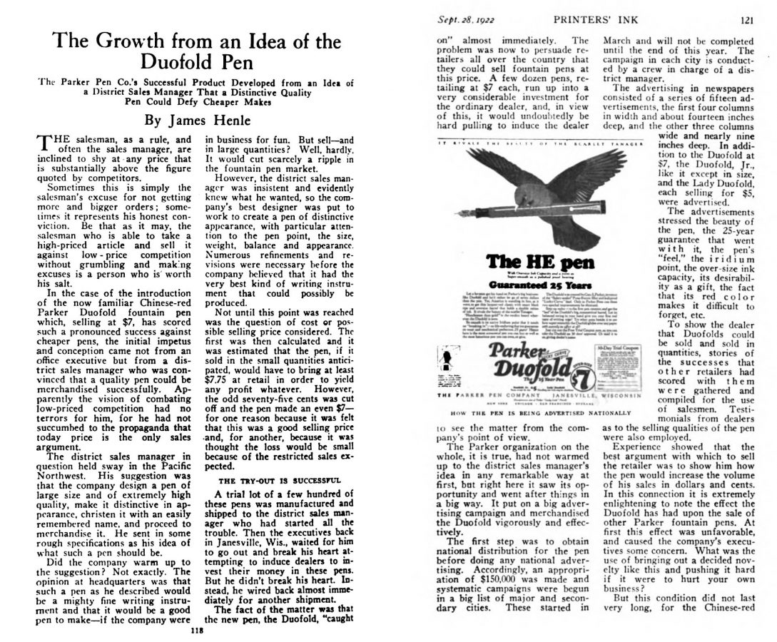 1922 09 28 Duofold the growth from a idea