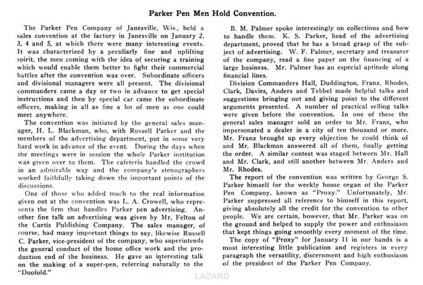 1923 01 01 Parker Convention text Lazard