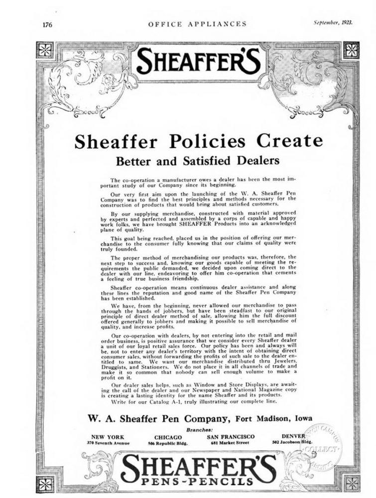 1923 09 00 Sheaffer policies & catalog A1
