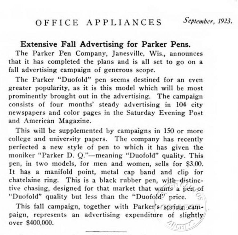 1923 09 00 campaign ad cost & D.Q. Duofold Quality
