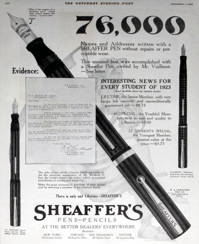 1923 09 01 Sheaffer Ad SEP