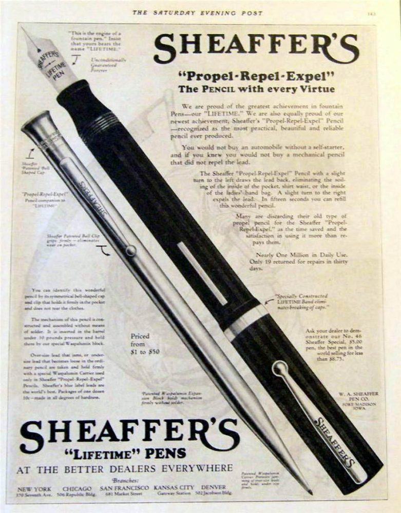 1923 sheaffer ad