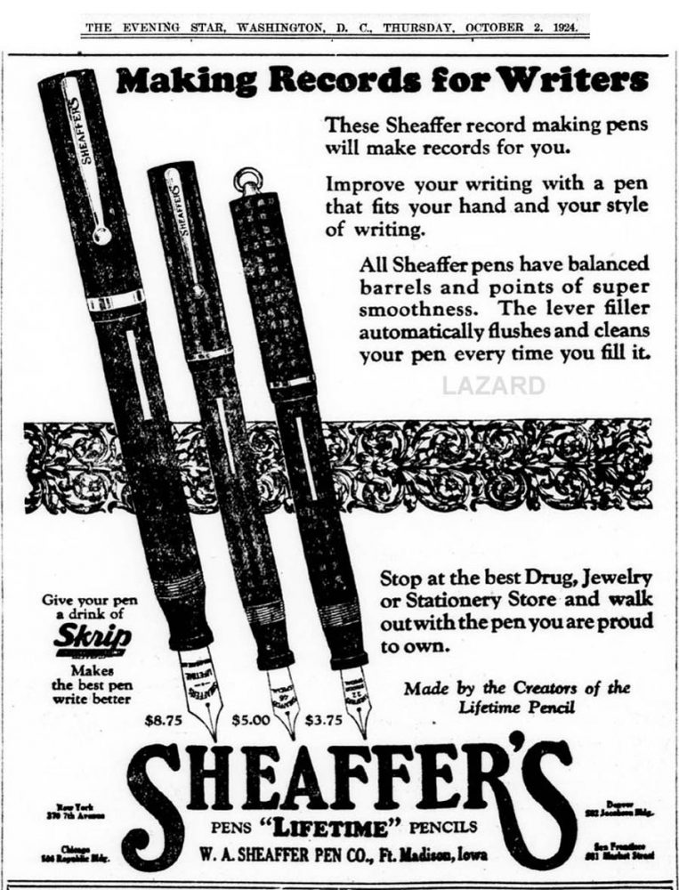 1924 10 02 Sheaffer BALANCED