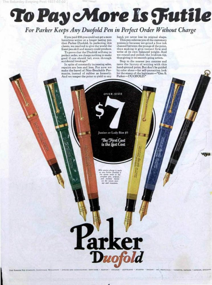 1927 07 02 SEP First cost last cost contra Sheaffer The Saturday Evening Post