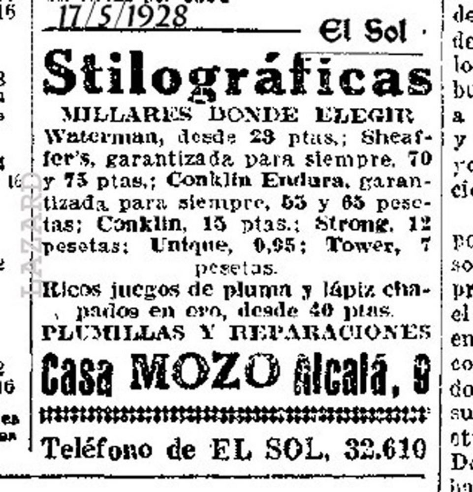 1928 05 17 Spanish ad with prices