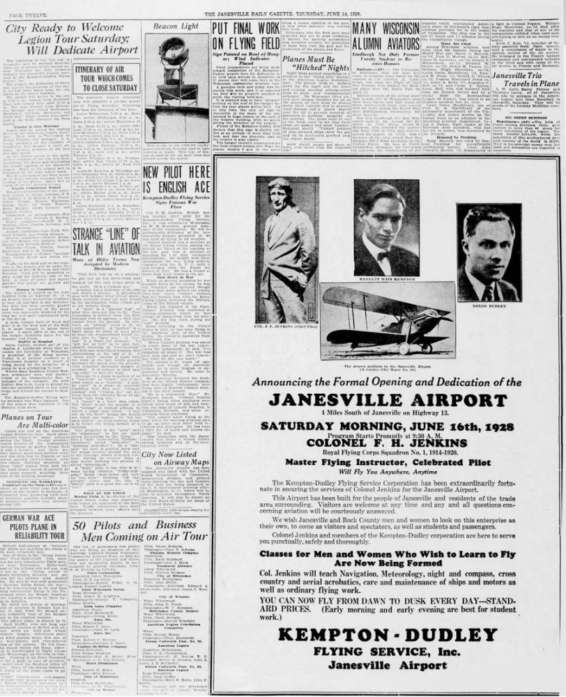 1928 06 14 Inauguration Rock County airport