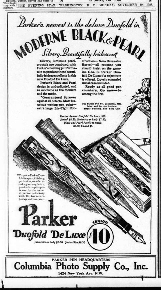 1928 11 19 moderne Black & pearl guaranteed forever