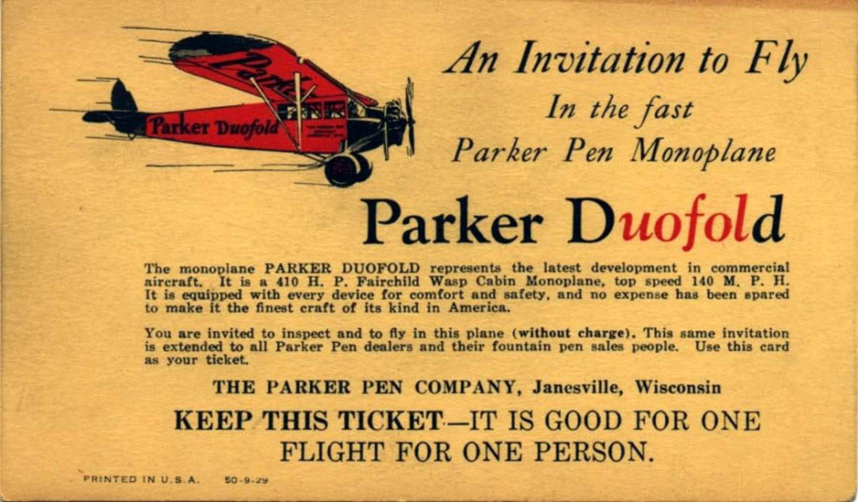 1929 09 00 Invitation Parker Duofold Monoplane