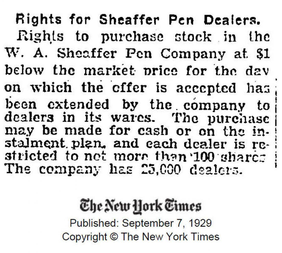 1929 09 07 Sheaffer bonus dealers stocks acciones