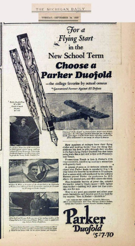 1929 Parker ad based on aviation especially aimed to Colleges (10).