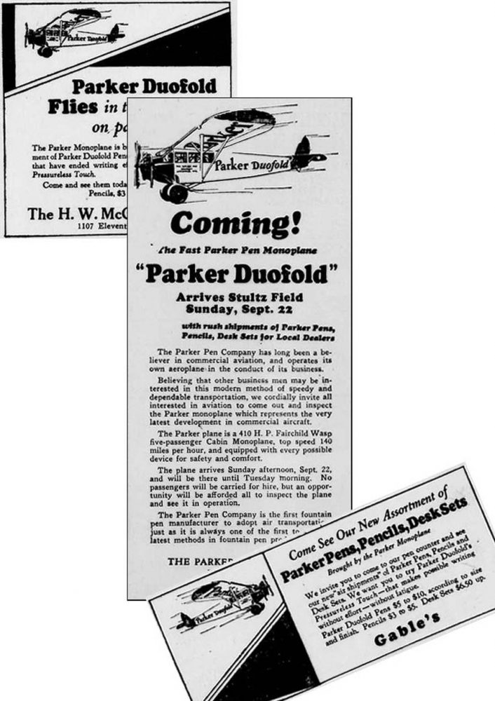 1929 Parker Duofold Fairchild ad