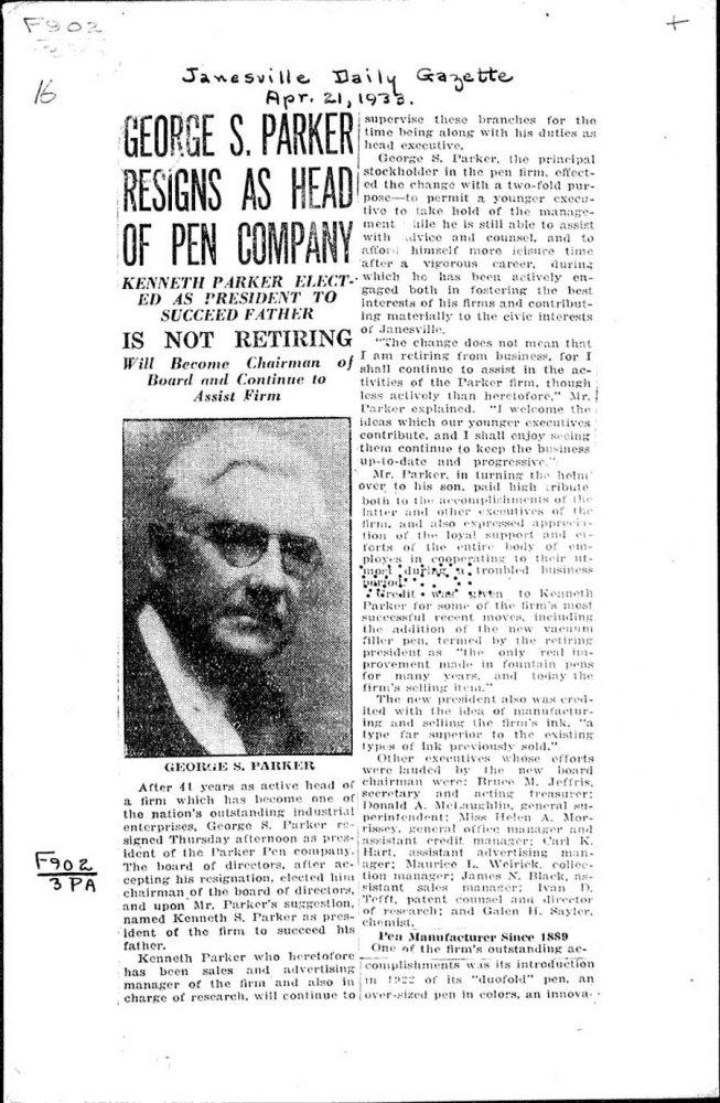 1933 04 21 George Parker cede la presidencia