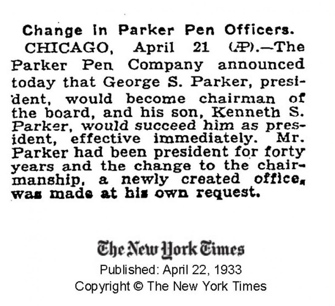 1933 04 22 Kenneth Parker president New York Times