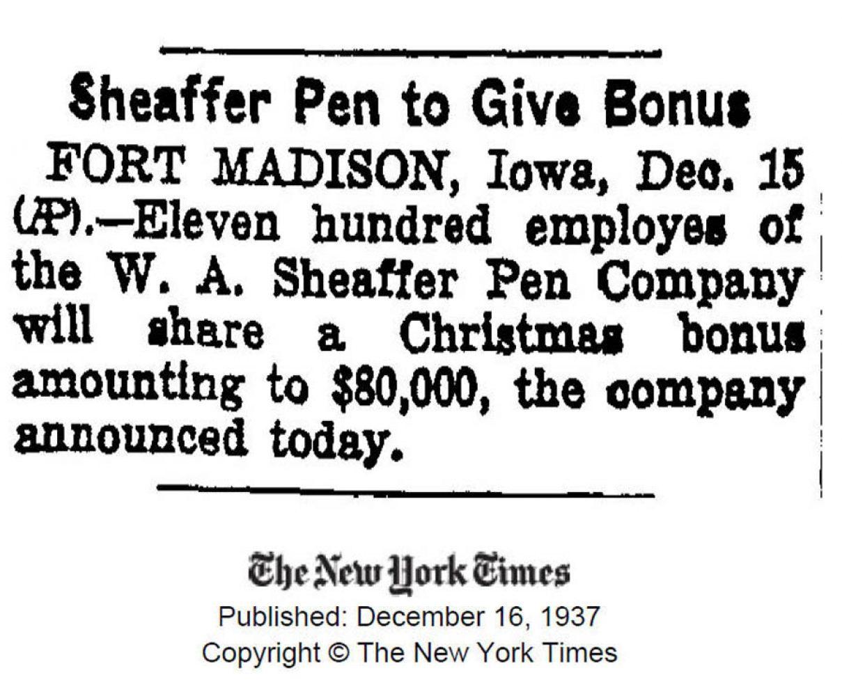 1937 12 16 Sheaffer employes bonus Chritmas Navidades