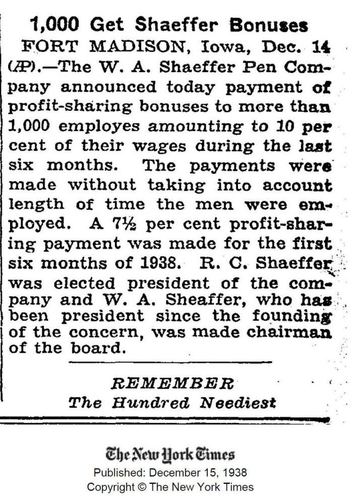 1938 12 15 Sheaffer employees bonus