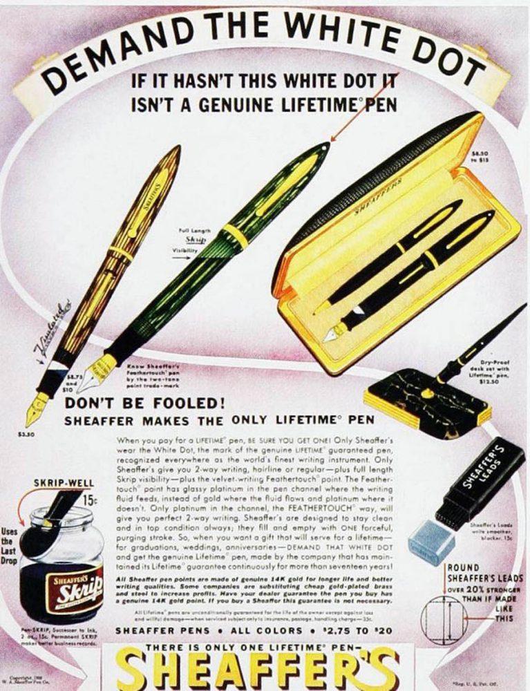 1938 Life 5.30.1938. SHEAFFER AD NO LIFETIME CLIP FLAT BALL LIFETIME CLIP RADIUS