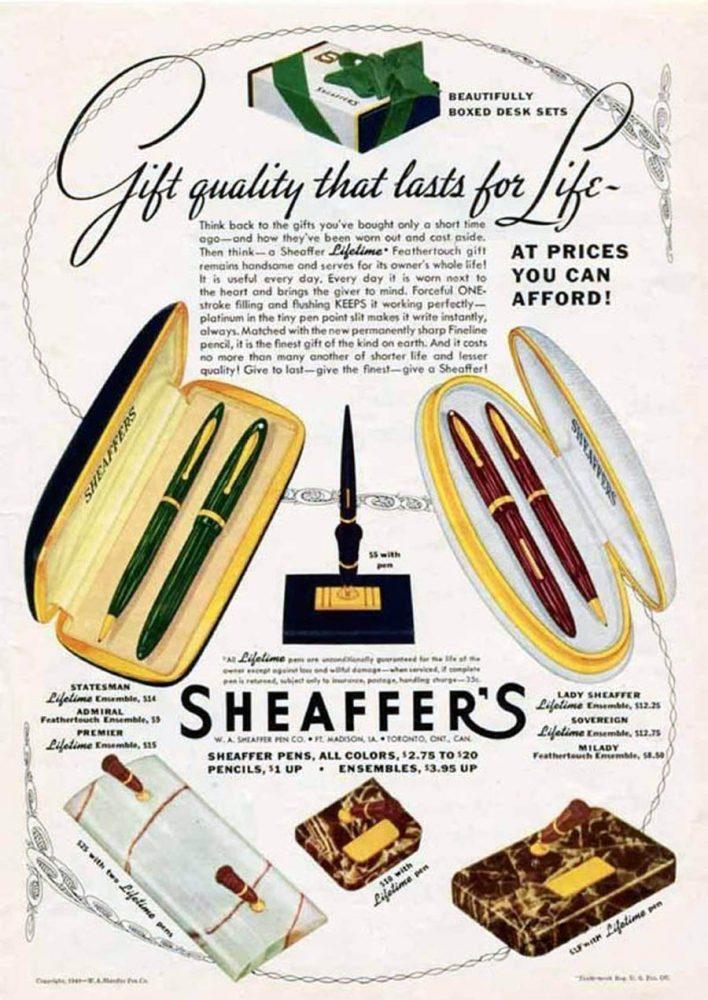 1940 sheaffer ad statesman lady sheaffer
