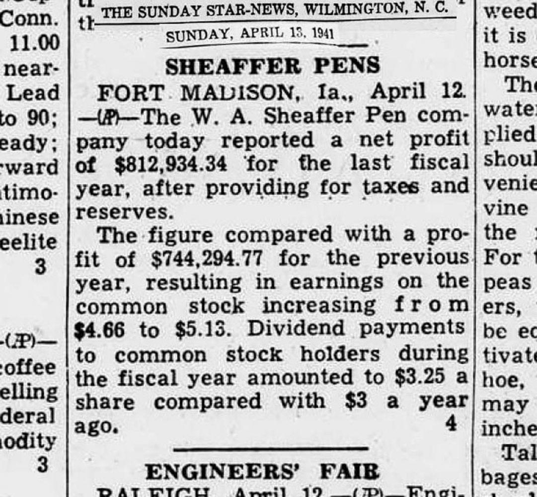 1941 04 13 Sheaffer beneficio y dividendos